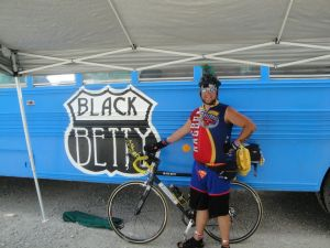 The Black Betty Bus, with my bike Black Betty